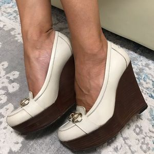Gucci Horsebit  libeccio ivory wedge pumps